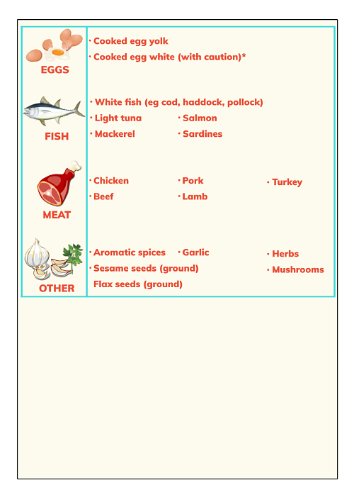 Baby solid foods chart 10 to 12 months