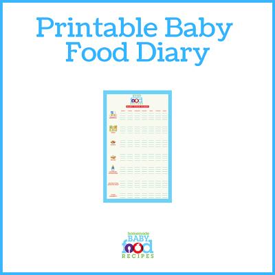 Printable baby food diary