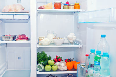 A fridge packed with food - use these tips to make sure you are storing baby's food safely