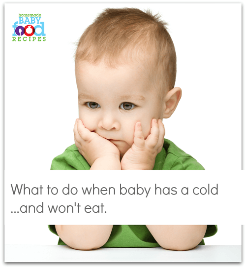 Feeding a baby with a cold