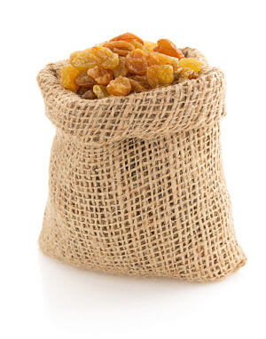 A bag of golden raisins. This page looks at when it's safe to introduce raisins to your baby